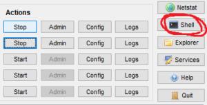 XAMPP Control Panelv3.2.4shellクリック