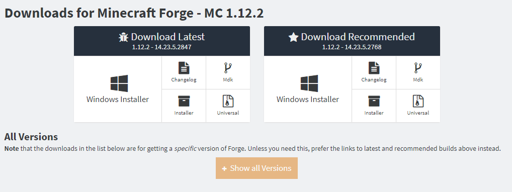forge1.12.2のshowallversions