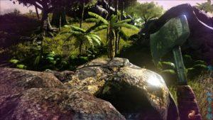 ARK Survival Evolved Screenshot 金属鉱石がたくさん取れる岩。金属岩。鉄の斧で採取すると採取量が増える