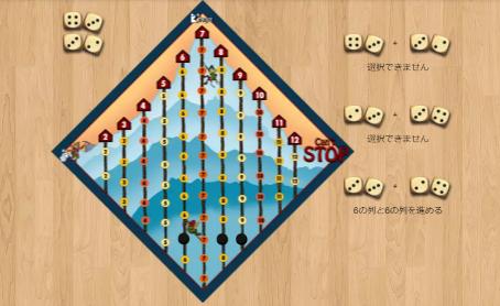 キャントストッププレイ画面。ボードゲームアリーナ