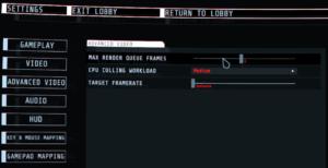 GTFO画面設定。初期状態だとめちゃくちゃくらい。